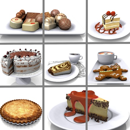 composition  of images of cake