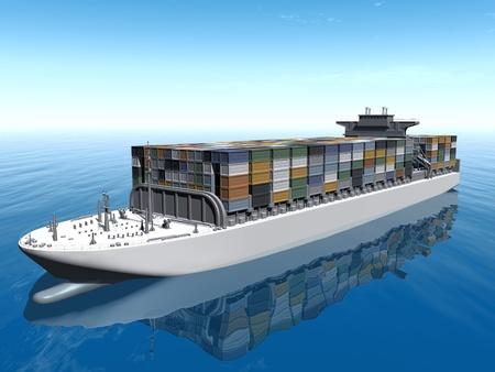 바다에서 보트 컨테이너 운송