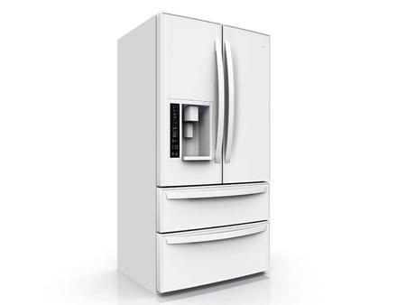 Amerikanischer Kühlschrank auf weißem Hintergrund