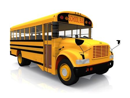 白い背景の上の学校のバス