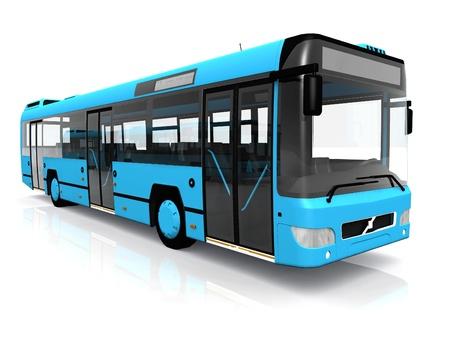 白い背景の上の市バス