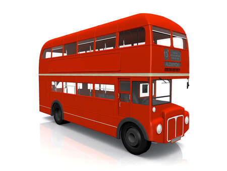 red English  bus on white background photo