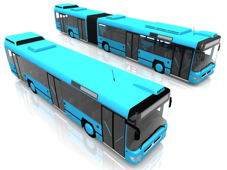 two blue city bus on white background photo