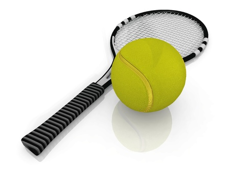 raquet: the racket and tennis ball Stock Photo
