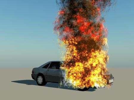 a burning car on blue background photo
