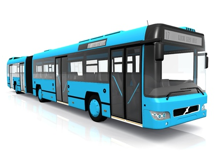 a blue city bus on white background photo