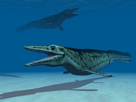 extinction: two  Mosasaur are swiming underwater Stock Photo
