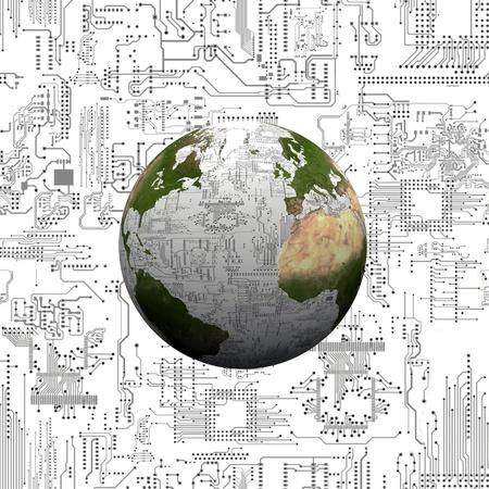 地球と電子回路 写真素材