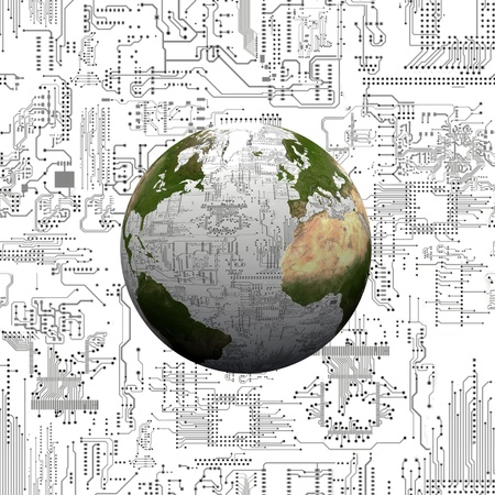 the earth and the electronic circuits Stock Photo