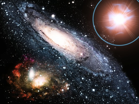 matters: a  galaxy and a super nova Stock Photo