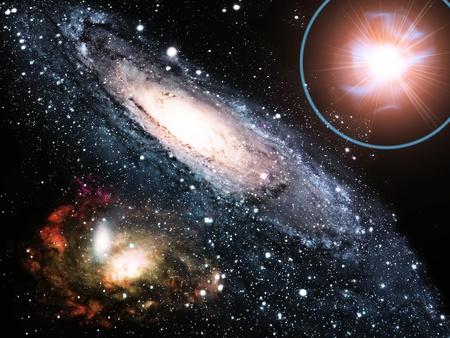 the universe: una galaxia y una supernova Foto de archivo