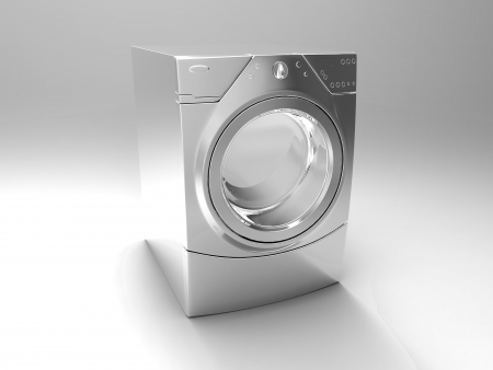 steel drum: the washing machine on a gray background Stock Photo