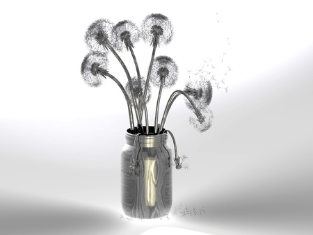 Dandelion  in the pot on a gray background Stock Photo - 10974630
