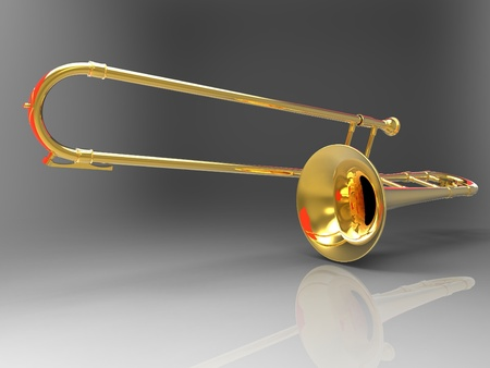 the trombone on a gray background photo