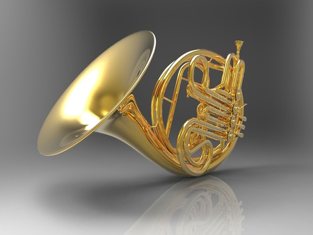 french horn: the horn on a gray background Stock Photo