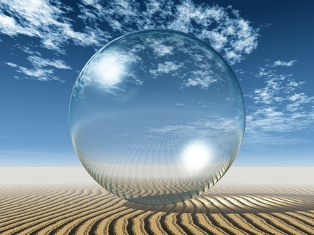 reg: a  transparent bubble in the desert Stock Photo