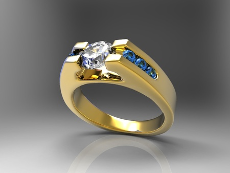 a gold and diamond ring photo