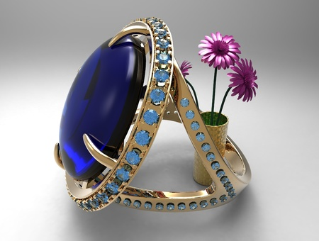 sapphire ring and flowers photo