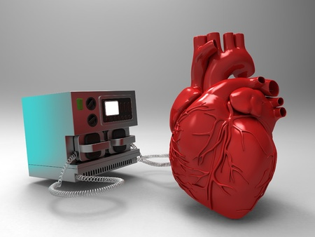 defibrillator: the heart and the defibrillator Stock Photo