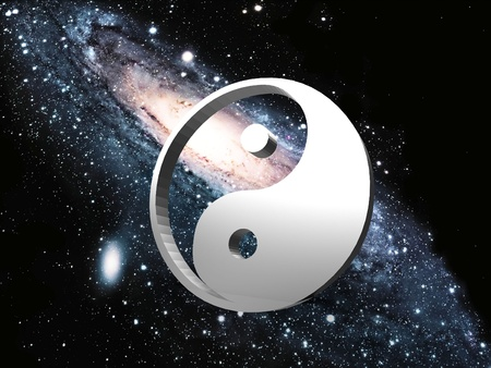 the spiral galaxy and ying yang photo