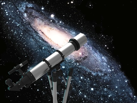 astronomer: the spiral galaxy and the telescope Stock Photo