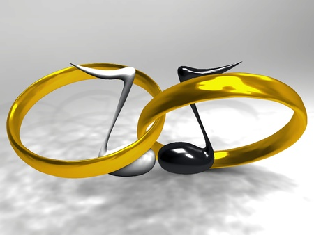 rings  in gold and musical notes photo