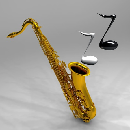 the saxophone and the notes photo
