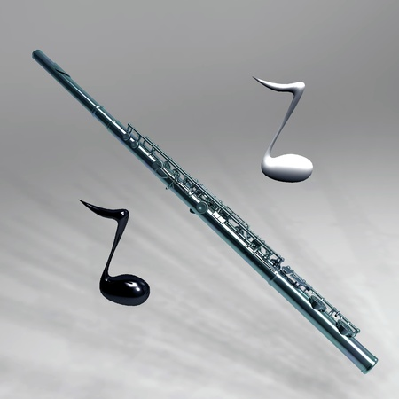 transverse flute and the notes photo