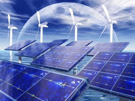 풍력 터빈과 태양 전지 패널 스톡 콘텐츠