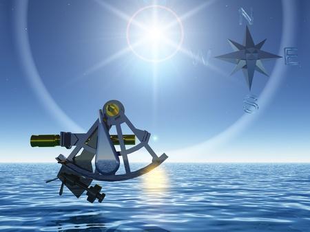 de sextant en de zee Stockfoto