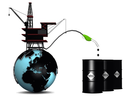 oil pump and earth Stock Photo - 12858454