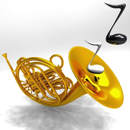 brass: the horn on a gray background Stock Photo