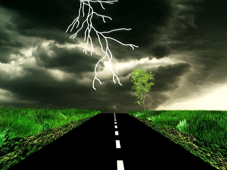 storm on the road photo