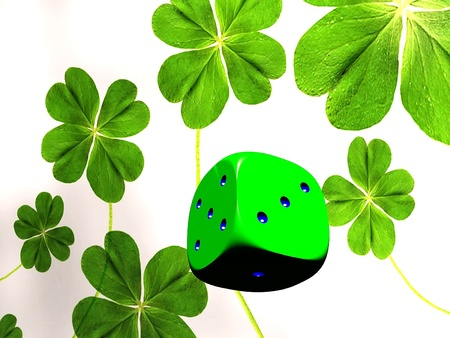 the dice and four leaf clover Stock Photo - 13048674