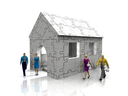 puzzling: puzzle house and woman