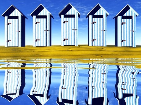 the beach huts Stock Photo - 13048749