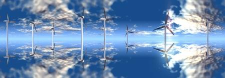 wind turbine on a blue sky Reklamní fotografie
