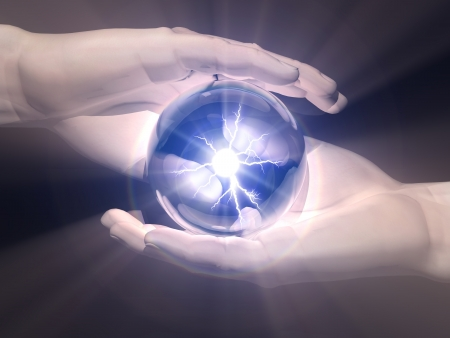 esoterism: ball  of clairvoyance in the hands