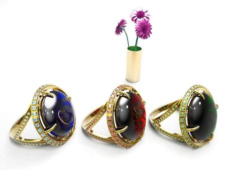 ruby ,emerald and sapphire rings photo