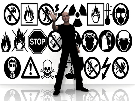 radon: man and danger signs