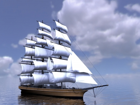 ship sky: The  three-masted sailing ship Stock Photo
