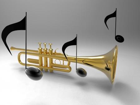trompeta: la trompeta y las notas Foto de archivo