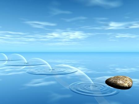 水の上の石の跳弾