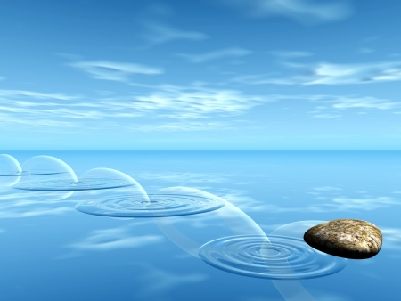 ricochets of a stone on water