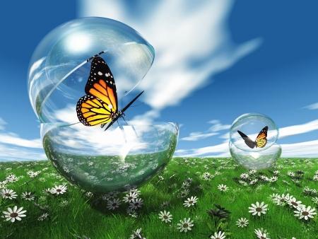 metamorfosis: mariposa en una burbuja en el prado Foto de archivo