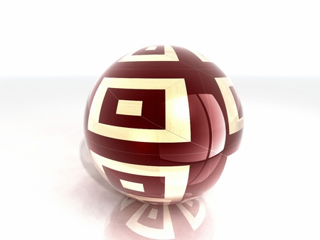 glass reflection: wooden glass ball with reflection