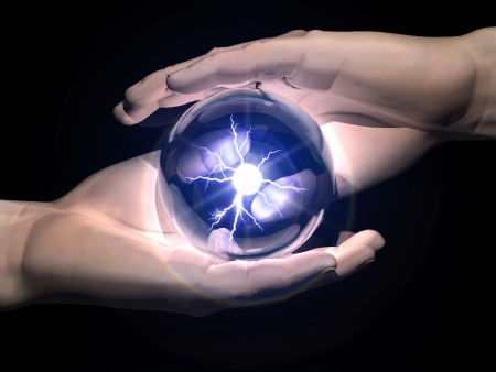 esotericism: ball  of clairvoyance in the hands