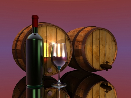 bootle: wine, barrels, glass and bottle Stock Photo