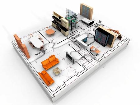 the beautiful house on puzzle Standard-Bild