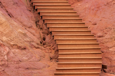 roussillon: ochres of Roussillon and stairs Stock Photo